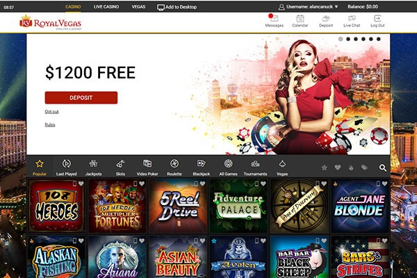 Royal Vegas Canada home page