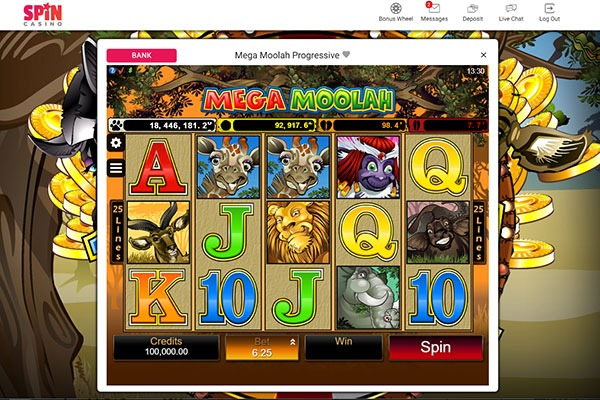 Spin casino Mega Moolah slot game