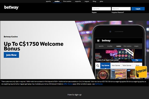 Betway Casino Canada home