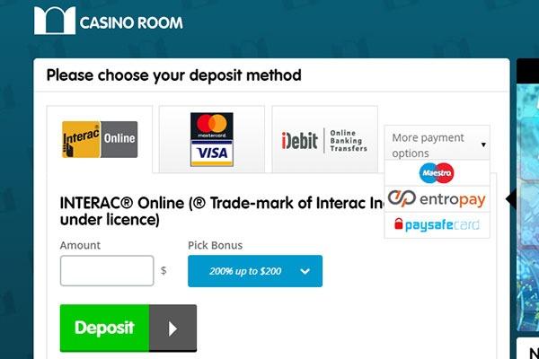 Casino Room CAD deposit methods screenshot