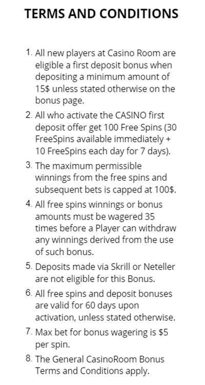 Casino Room terms