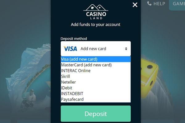 Casinoland CAD deposits