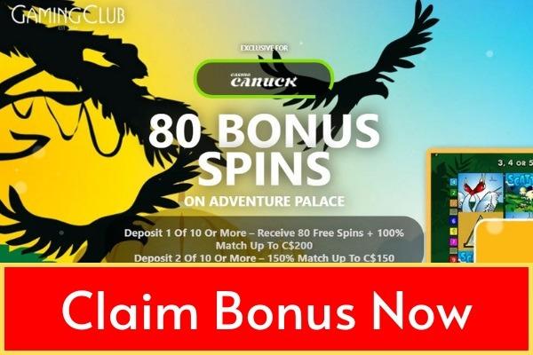 Gaming Club Casino Canada exclusive 80 free spins bonus through casino canuck