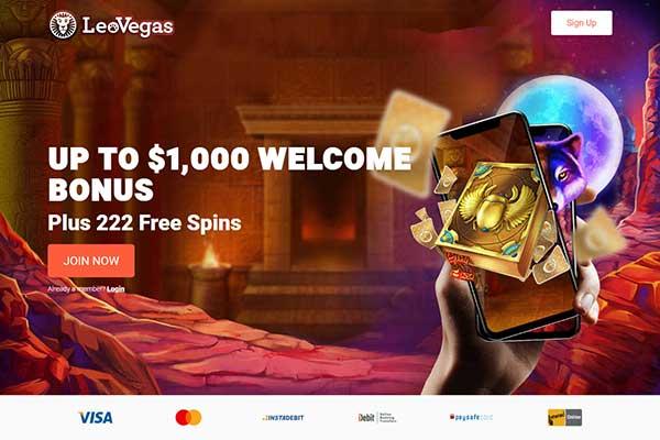 LeoVegas Casino Canada home page