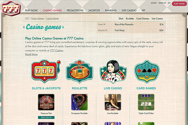 777 Canada Casino Games