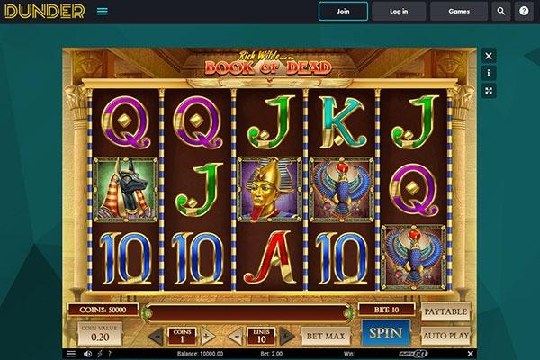 Dudner Casino Book of Dead slot game