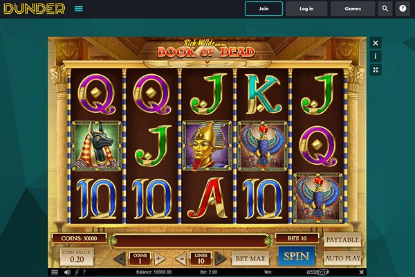 Dudner Casino Book of Dead slot game
