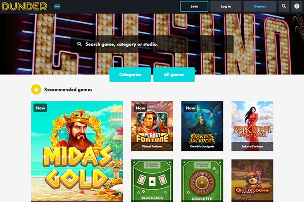 Dunder Canda CAsino Games
