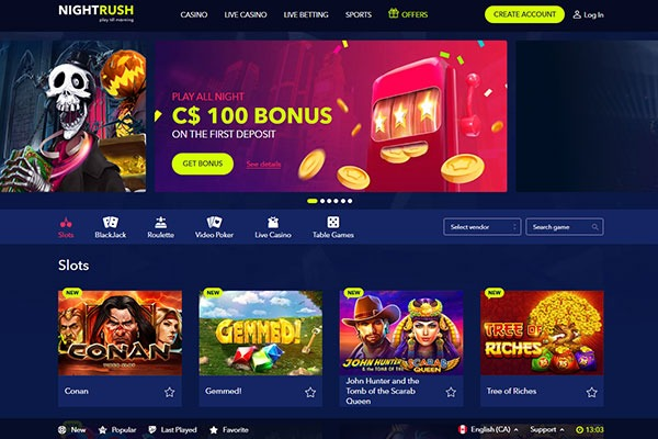 Night Rush Casino Canada homepage