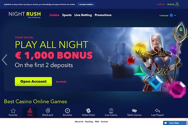 Night Rush Casino home