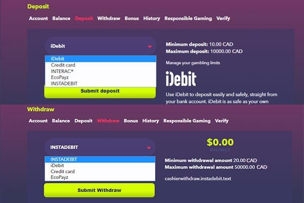 Night Rush Casino Canada Payment methods