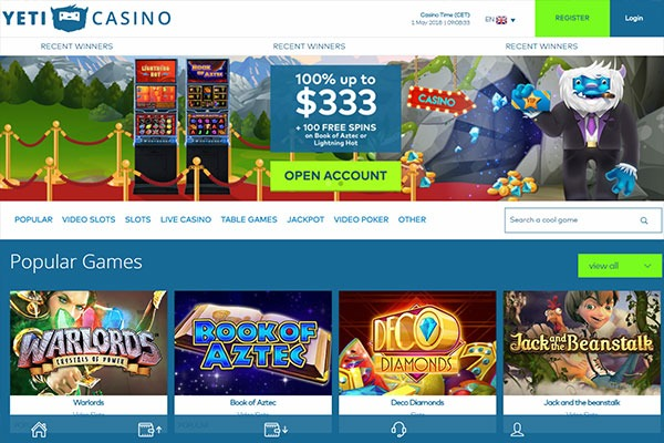 Yeti Casino Canada home