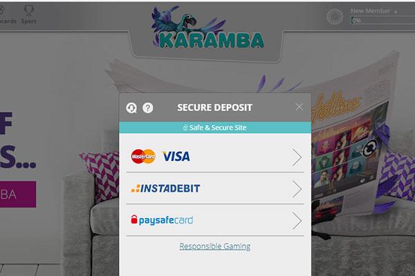 Karamba Casino CAD deposit methods