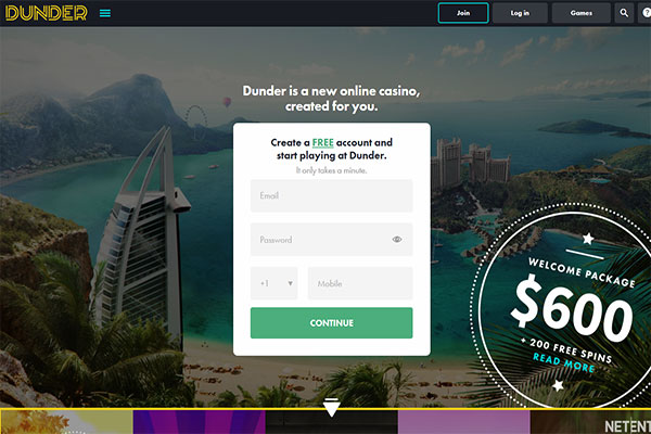 Dunder Casino Canada Home page