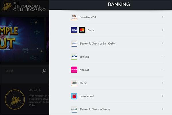 Hippodrome Casino Online CAD banking options