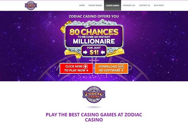 Zodiac Casino Canada homepage