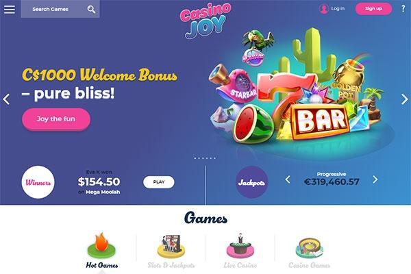 Casino Joy Canada home page