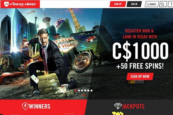 Vegas Hero Casino home page