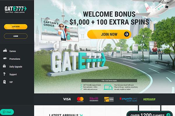 Gate777 casino Canada home page