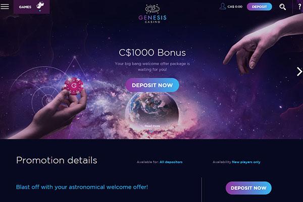 Genesis Casino Canada home page