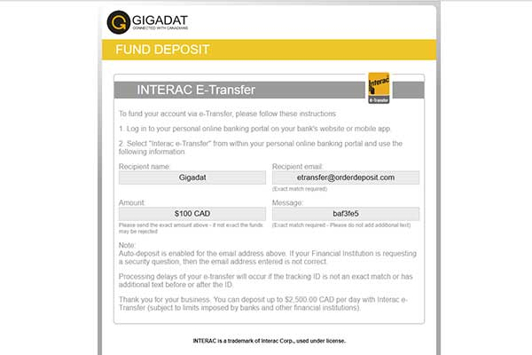 Gigadat Inc Casino payment