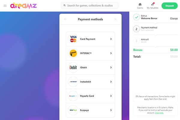 Dreamz Casino Payment Methods