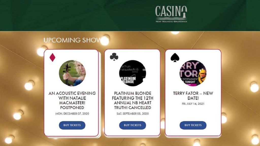 Casino New Brunswick Shows