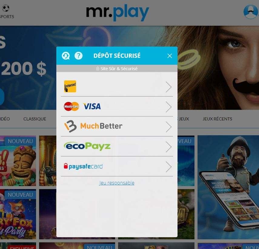 Mr Play CA FR modes des paiement