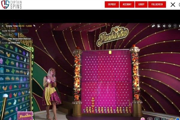 captain spins casino live crazy time