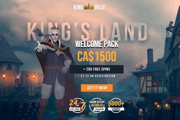 King Billy Casino Canada $1500 welcome bonus