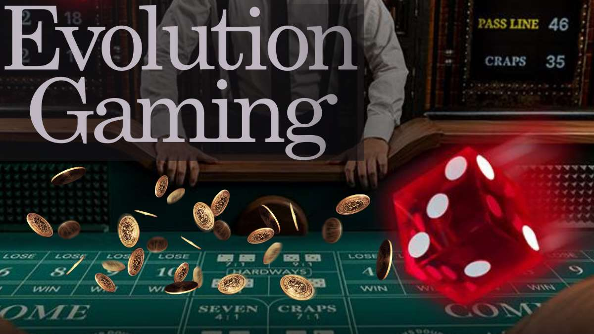 evolution casinos gaming logo and a roulette table and red dice