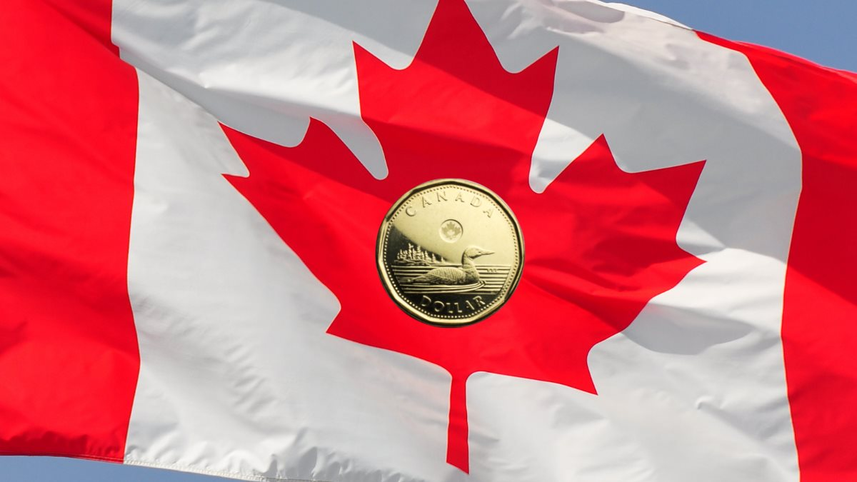 Illustrating the concept of $1 deposit casinos in Canada with a photo of a Canadian flag flying in the wind with a picture of a loonie, the Canadian $1 coin
