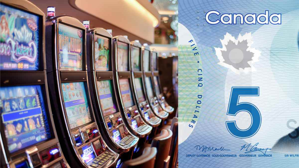 Picture of casino slot machines and a Canadian 5 dollar bill