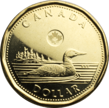 a canadian dollar coin, known as a loonie