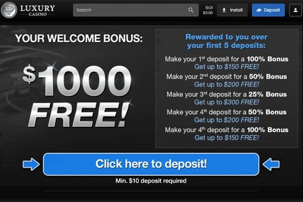 Luxury Casino welcome bonus